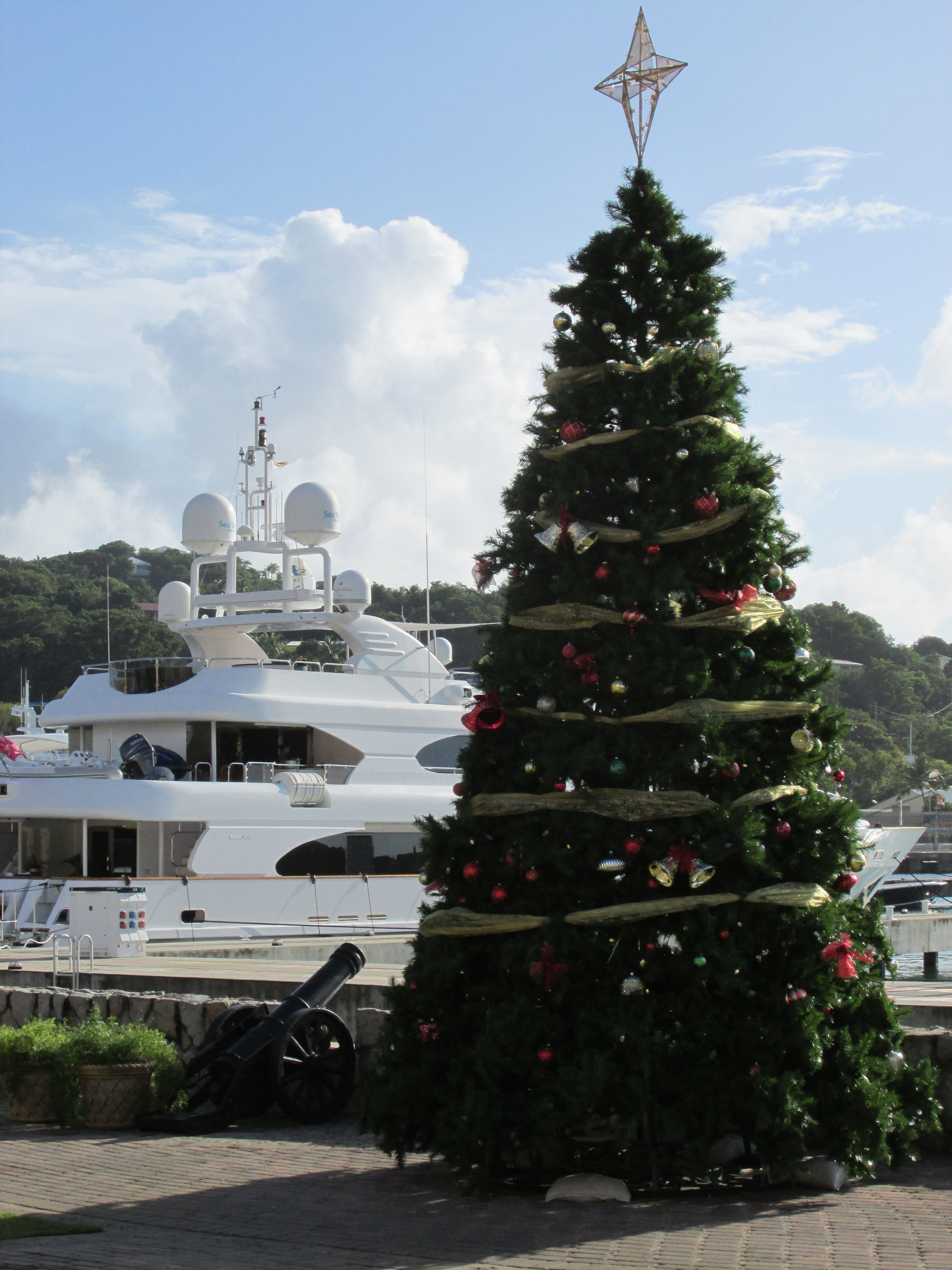 Christmas Tree And Yacht In